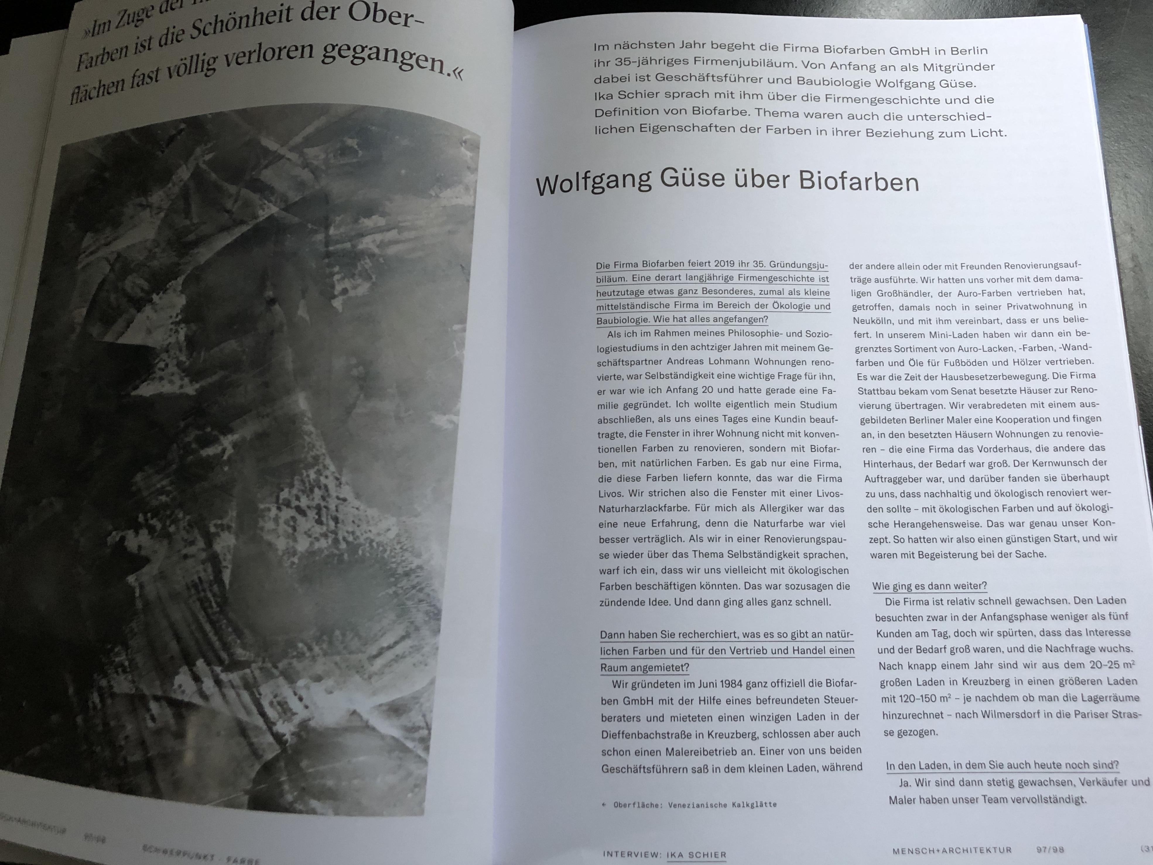 Ein Beitrag über Biofarben in Mensch + Architektur